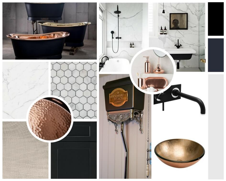 A mood board with copper as its focus and dark contrasting colours.